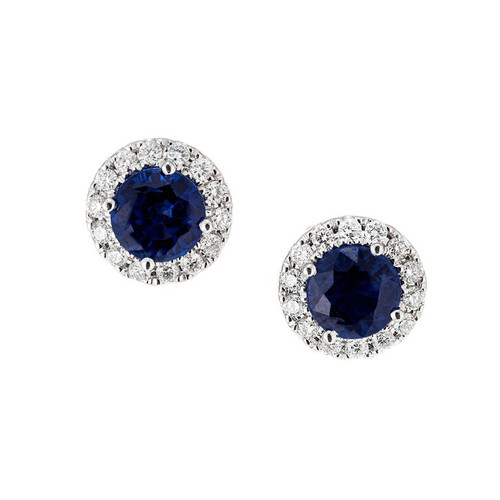 1.31 Carat Blue Sapphire Diamond Halo White Gold Stud Earrings