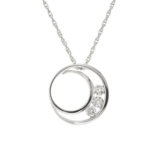 .50 Carat Diamond White Gold Pendant Necklace