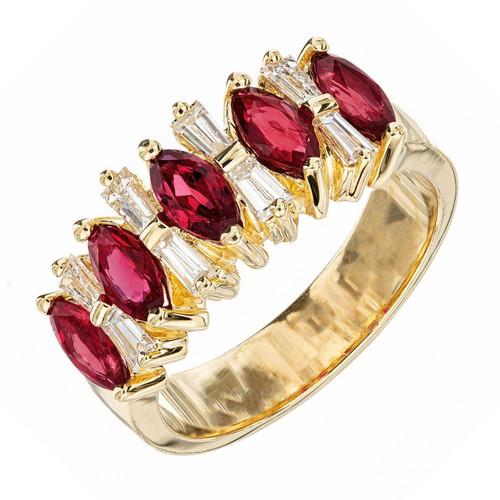 1.25 Carat Ruby Diamond Yellow Gold Band Ring