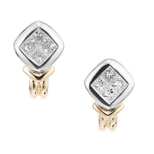 1.10 Carat Diamond Two Tone Gold Earrings
