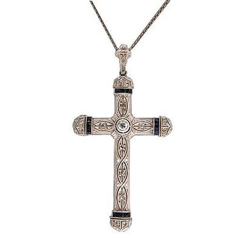 Vintage Antique 18k White Gold Filigree Sapphire Round Diamond Cross Pendant