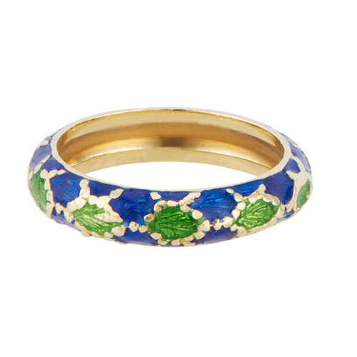Tiffany & Co Blue and Green Enamel Yellow Gold Paillone Ring