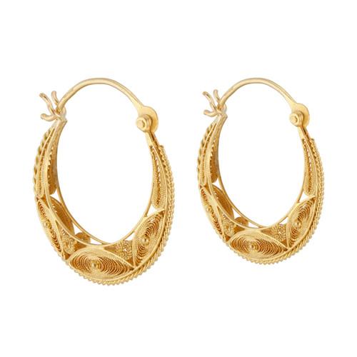 Yellow Gold Filigree Hoop Earrings