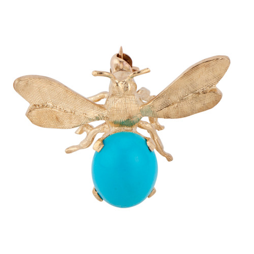 Turquoise Yellow Gold Bee Brooch