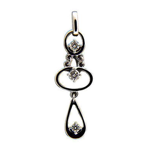Vintage 3 Round Brilliant Cut Diamond .26CT 3 Section Dangle 14k Gold Pendant