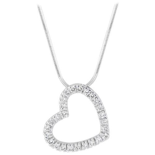 .39 Carat Diamond White Gold Open Heart Pendant Necklace