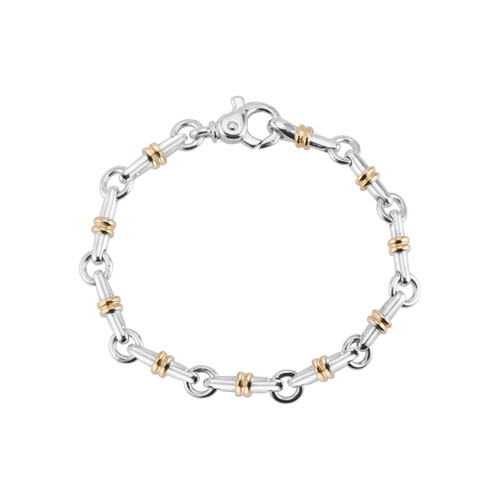 Tiffany & Co Sterling Silver Yellow Gold Bar Link Bracelet