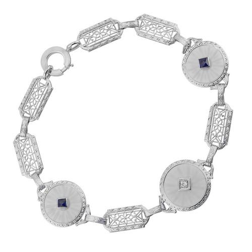 Angel Skin Quartz Sapphire Diamond White Gold Filigree Bracelet