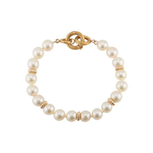 7.7mm Cultured Pearl Yellow Gold Bracelet