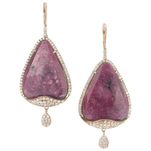 Meira T. GIA Certified 34.38 Carat Ruby Diamond Rose Gold Dangle Earrings