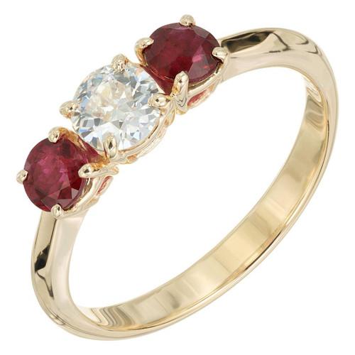 Peter Suchy .42 Carat Diamond Ruby Yellow Gold Three-Stone Engagement Ring