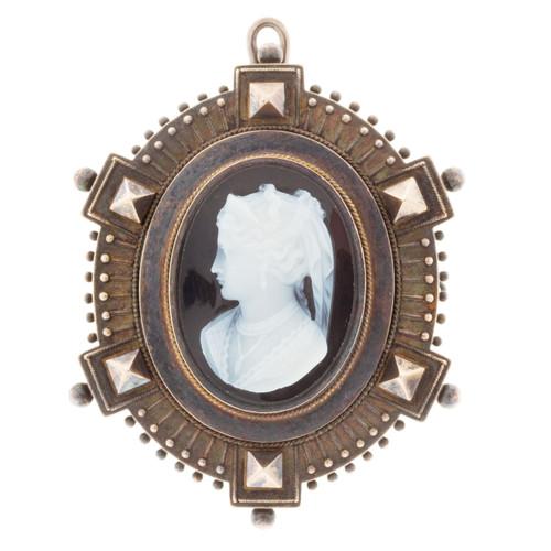 Vintage Estate Archeological Revival Antique 14k Hardstone Pin Pendant