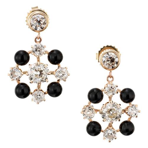 EGL Certified Diamond Onyx Rose Yellow Gold Dangle Earrings