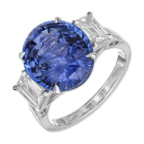 Peter Suchy GIA Certified 8.16 Carat Blue Sapphire Diamond Platinum Ring