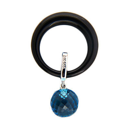 Vintage Blue Topaz 5.18ct Briolette Jet Black Onyx 14k Gold Open Circle Pendant