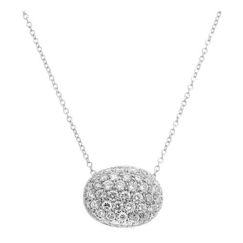 2.00 Carat Diamond Two Tone Gold Pave Set Slide Pendant Necklace
