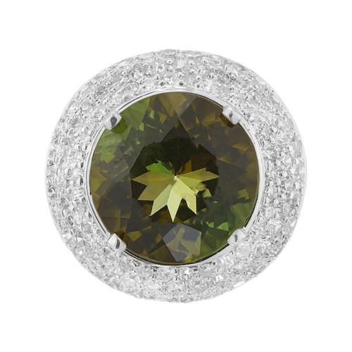 6.90 Carat Tourmaline Diamond Platinum Cocktail Ring