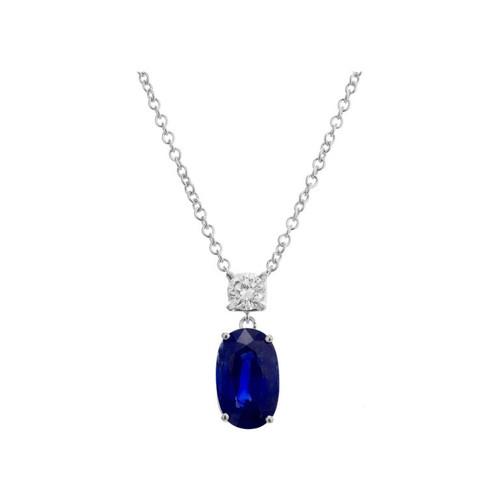 Peter Suchy GIA Certified 3.82 Carat Blue Sapphire Diamond White Gold Pendant