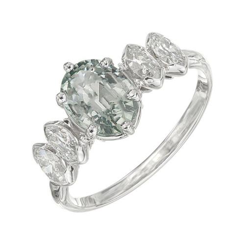 GIA Certified 1.77 Carat Green Sapphire Diamond Platinum Ring