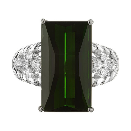10.85 Carat Tourmaline Diamond Platinum Ring