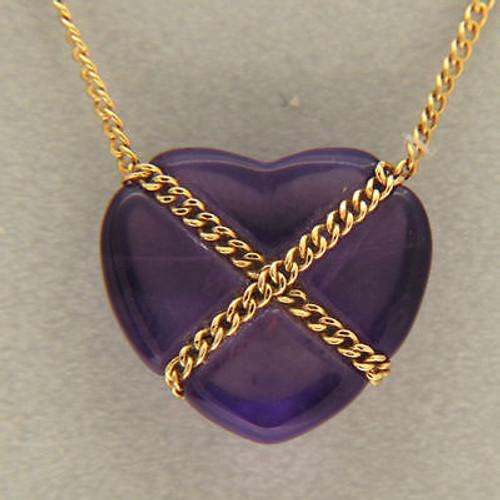 "Vintage Designer Tiffany & Co 18k Gold ""X"" Chain Fine Amethyst Heart Pendant"