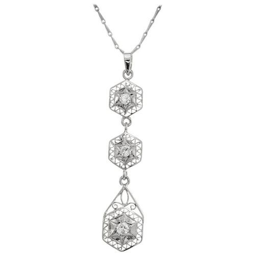 .28 Carat Diamond White Gold Pendant Necklace