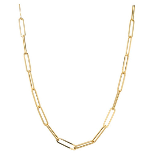 Yellow Gold Elongated Open Link Chain Necklace