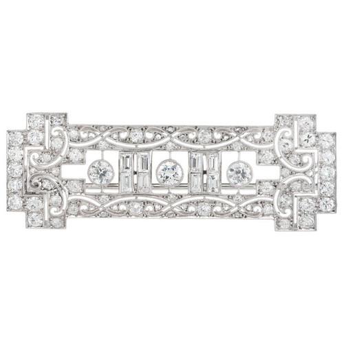 Edwardian 2.75 Carat Diamond Platinum Bar Brooch