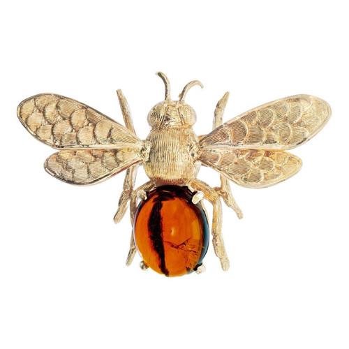 .5 Carat Citrine Yellow Gold Bee Brooch