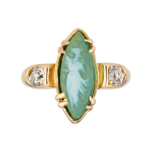 Green Agate Diamond Diamond Yellow Gold Cameo Three-Stone Ring