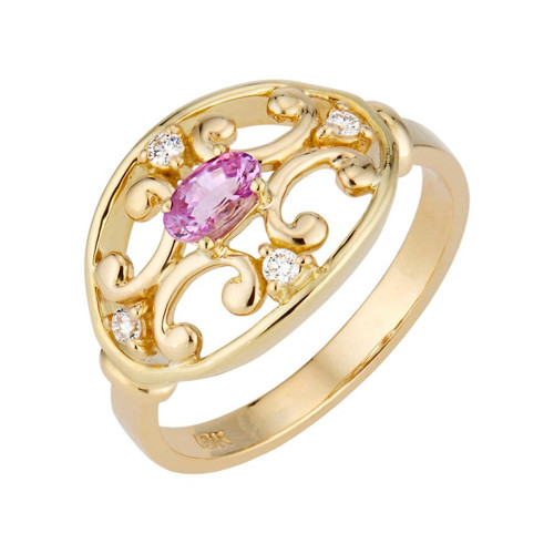 .25 Carat Pink Sapphire Diamond Etruscan Yellow Gold Ring