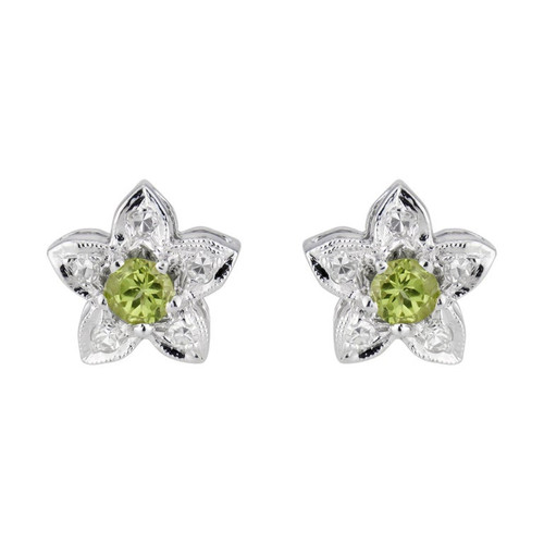 .40 Carat Peridot Diamond White Gold Star Shaped Stud Earrings