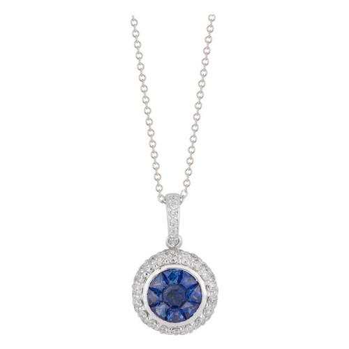 Effy .60 Carat Blue Sapphire Diamond Halo White Gold Pendant Necklace