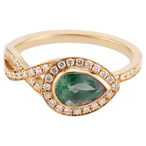 Peter Suchy GIA 1.00 Carat Alexandrite Diamond Halo Yellow Gold Engagement Ring