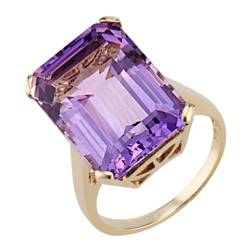 13.25 Carat Amethyst Yellow Gold Cocktail Ring