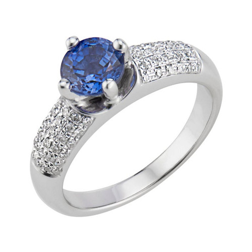 1.00 Carat Blue Sapphire Diamond White Gold Engagement Ring