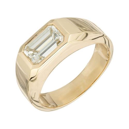 Peter Suchy GIA Certified 1.80 Carat Diamond Yellow Gold Unisex Ring