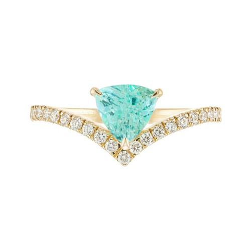 Peter Suchy GIA Certified .76 Carat Paraiba Tourmaline Diamond Engagement Ring