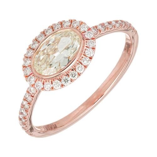 Peter Suchy GIA Certified .53 Carat Diamond Halo Rose Gold Engagement Ring