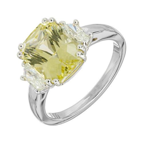 Peter Suchy GIA Certified 5.03 Carat Sapphire Diamond Engagement Platinum Ring