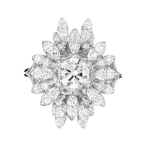 EGL Certified .81 Carat Diamond White Gold Cocktail Cluster Ring