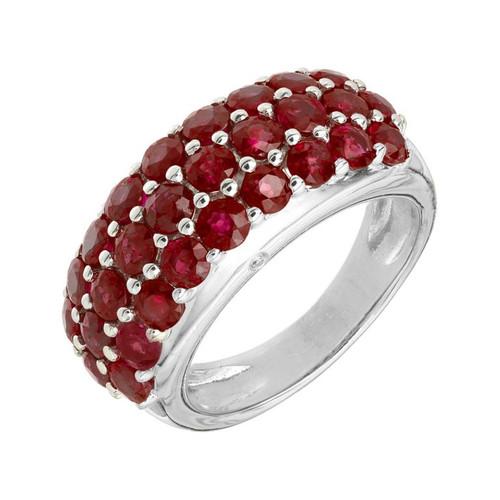 4.00 Carat Ruby Diamond White Gold Band Ring