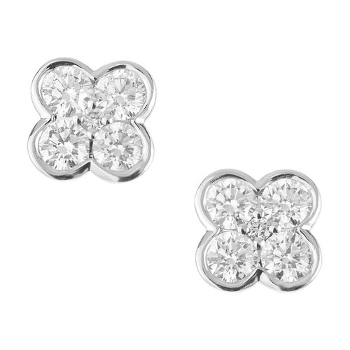 Peter Suchy 1.10 Carat Diamond White Gold Flower Petal Earrings