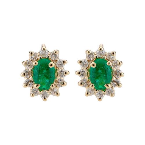 .90 Carat Emerald Diamond Halo Yellow Gold Earrings