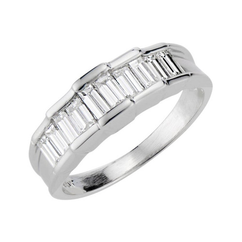 1.01 Carat Baguette Diamond Platinum Band Ring