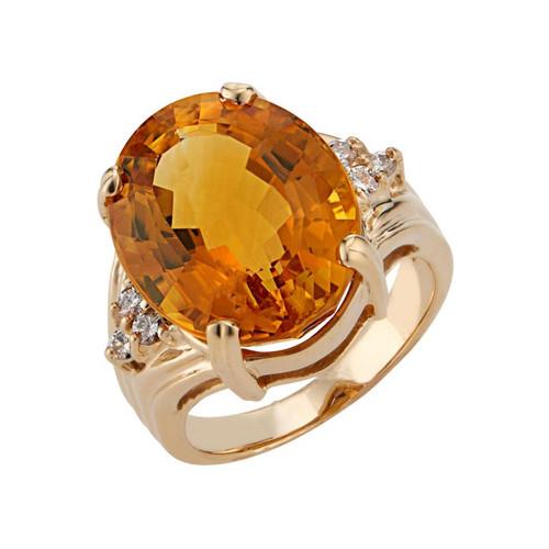 14.17 Carat Citrine Diamond Yellow Gold Cocktail Ring