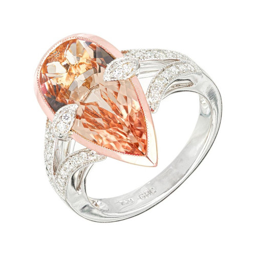 Peter Suchy 3.00 Carat Morganite Diamond Two-Tone Gold Cocktail Ring