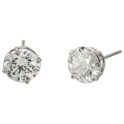 Peter Suchy GIA Certified 3.08 Carat Diamond Platinum Stud Earrings