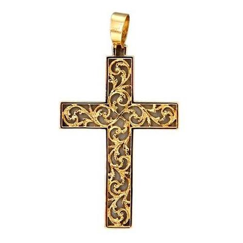 Vintage Estate Large Pierced Filigree 18k Gold Cross Pendant