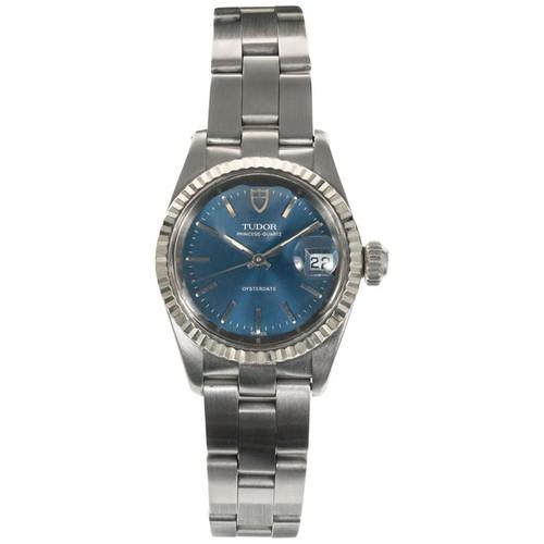 Rolex Stainless Steel Tudor Ladies Princess Oyster Date Wristwatch